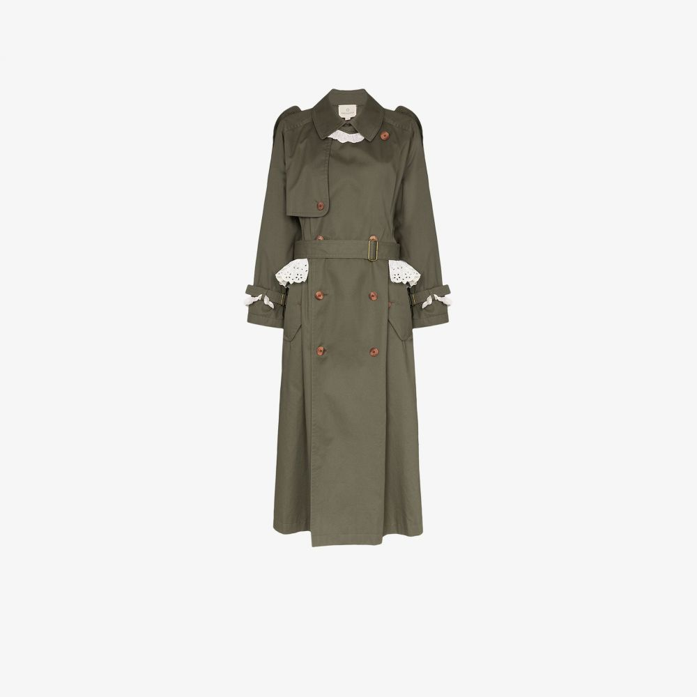 Rentrayage レディース トレンチコート アウター【Weekend in Sandringham broderie anglaise trench coat】green
