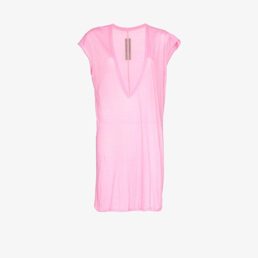 リック オウエンス Rick Owens レディース Tシャツ Vネック トップス【plunge V-neck cotton T-shirt】pink