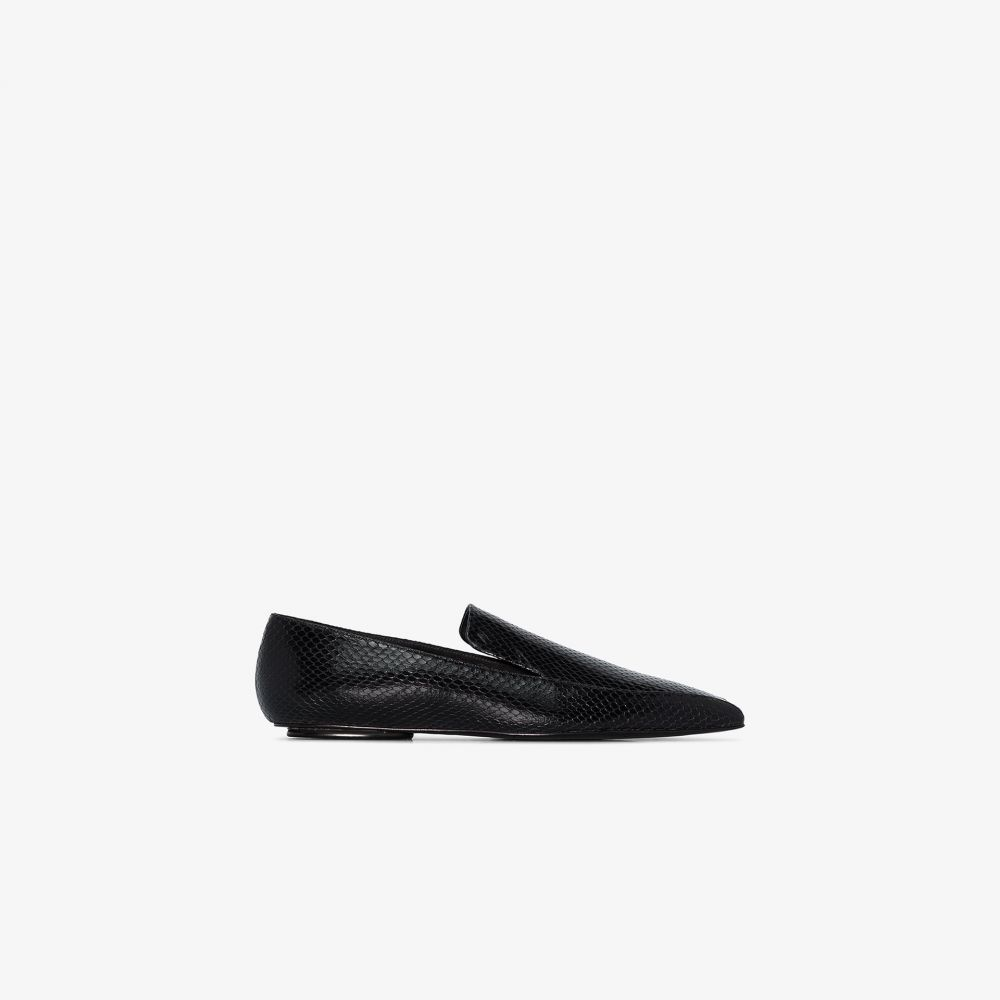 ロゼッタゲティー Rosetta Getty レディース ローファー・オックスフォード シューズ・靴【black snake effect leather loafers】black