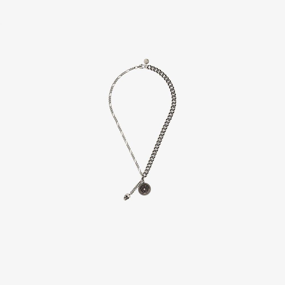 アレキサンダー マックイーン Alexander McQueen メンズ ネックレス ジュエリー・アクセサリー【antique silver tone medallion skull necklace】