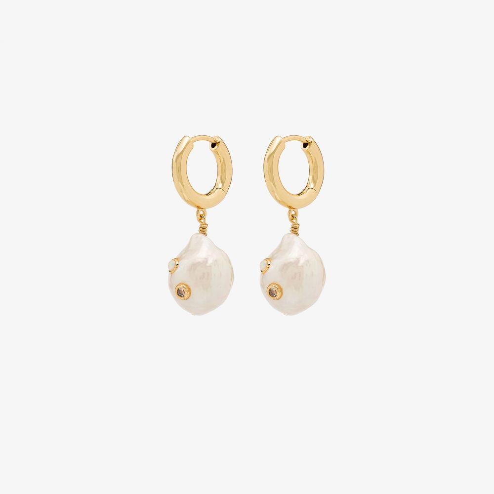 アニルー Anni Lu レディース イヤリング・ピアス ジュエリー・アクセサリー【18K gold-plated Gertrude pearl hoop earrings】gold