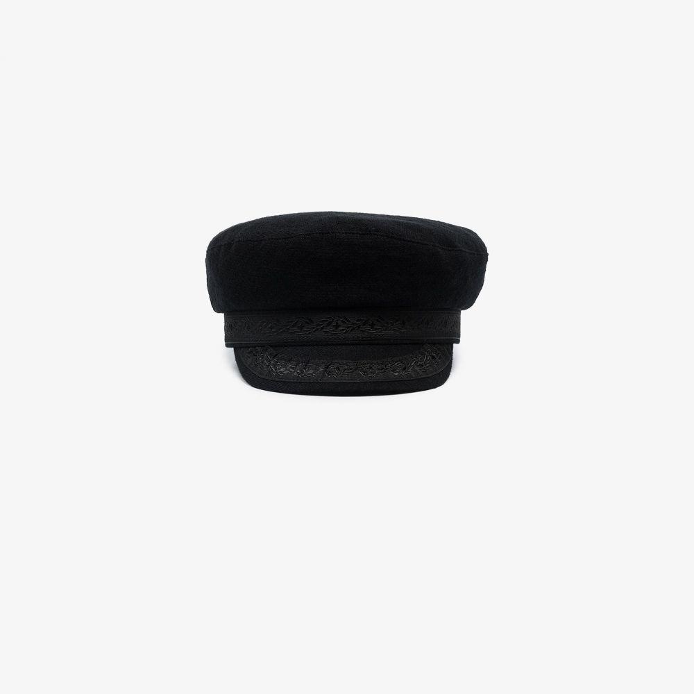アンドゥムルメステール Ann Demeulemeester メンズ 帽子 【black Fisherman embroidered trim hat】black