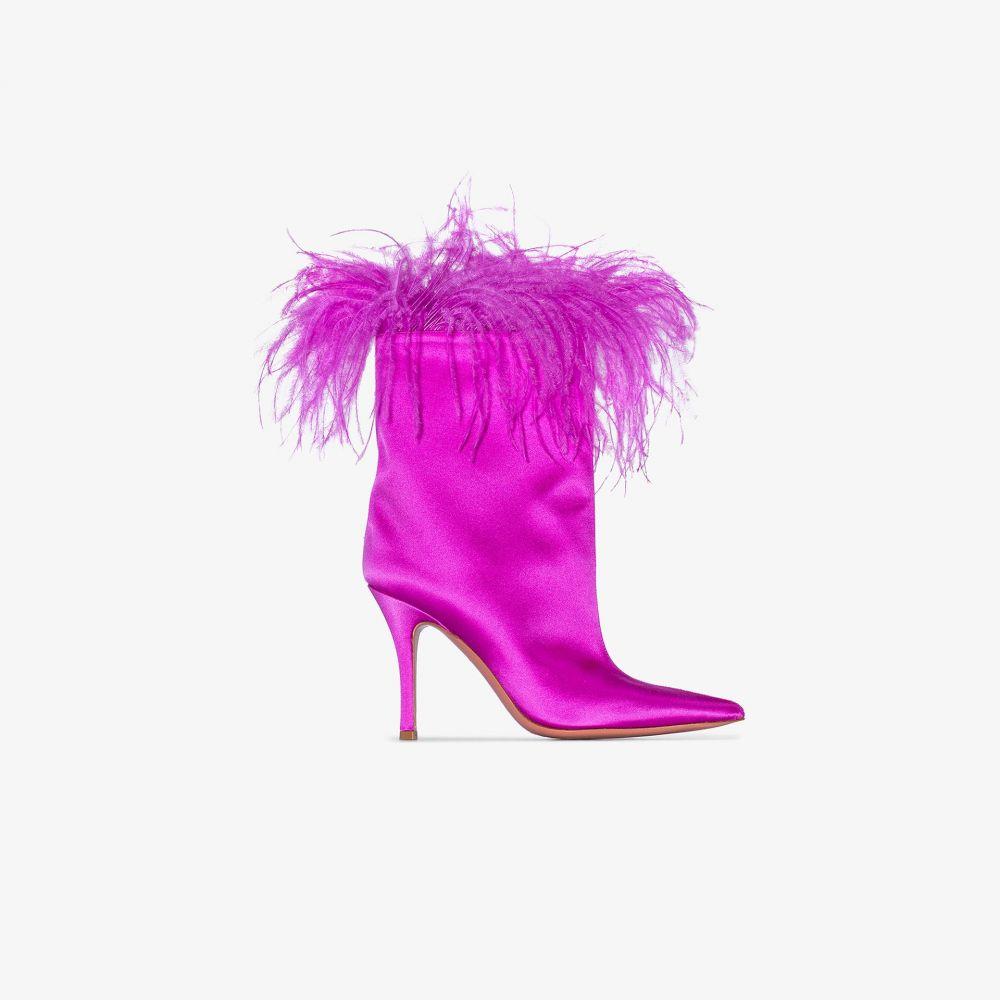 アミナ モアディ Amina Muaddi レディース ブーツ シューズ・靴【pink Nakia Plume feather satin boots】pink