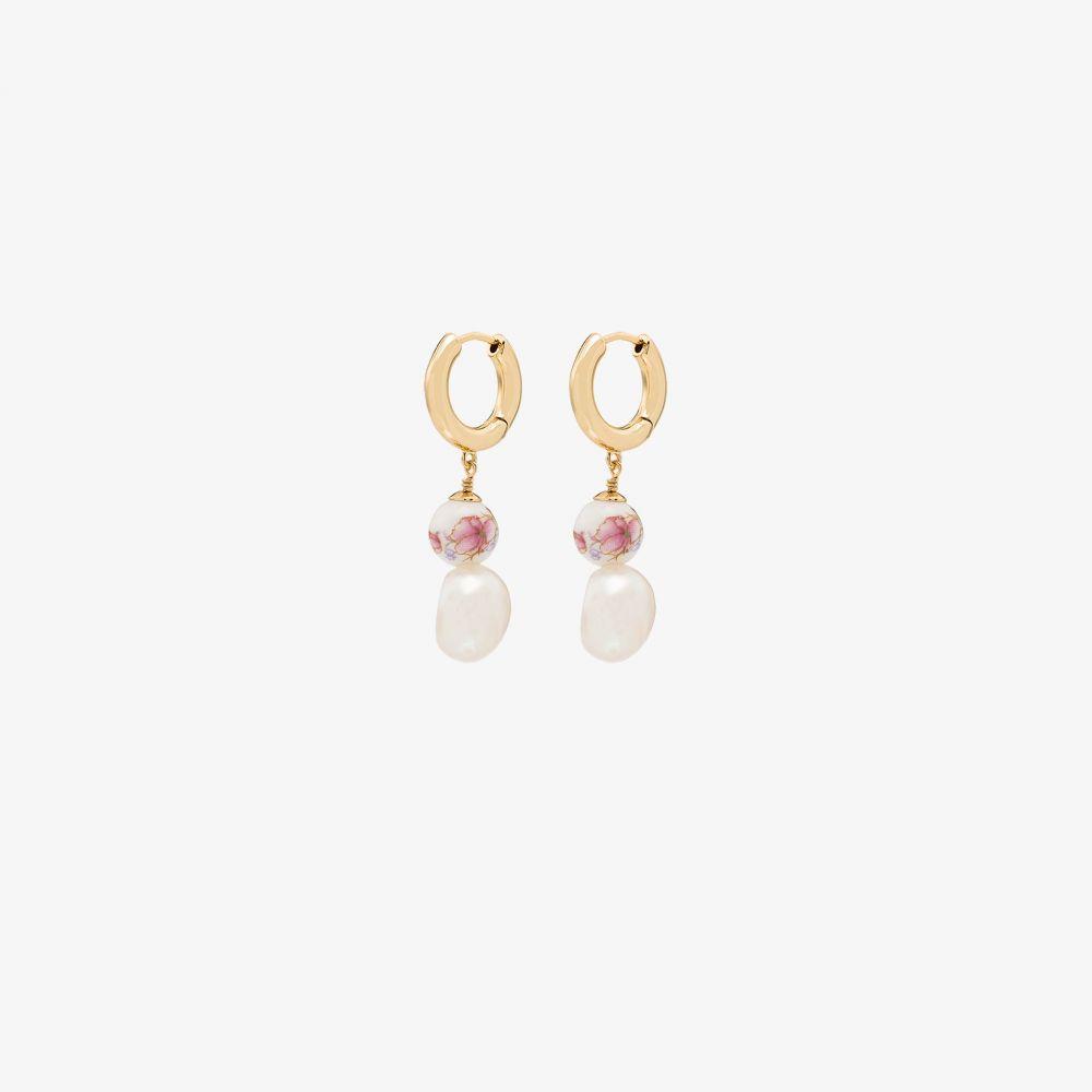アニルー Anni Lu レディース イヤリング・ピアス ジュエリー・アクセサリー【18K gold-plated Heloise pearl hoop earrings】gold