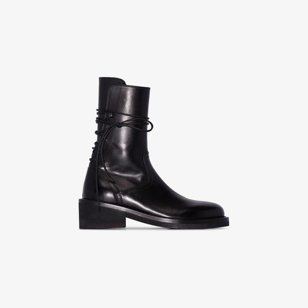 アンドゥムルメステール Ann Demeulemeester レディース ブーツ レースアップブーツ シューズ・靴【black rear lace-up leather boots】black
