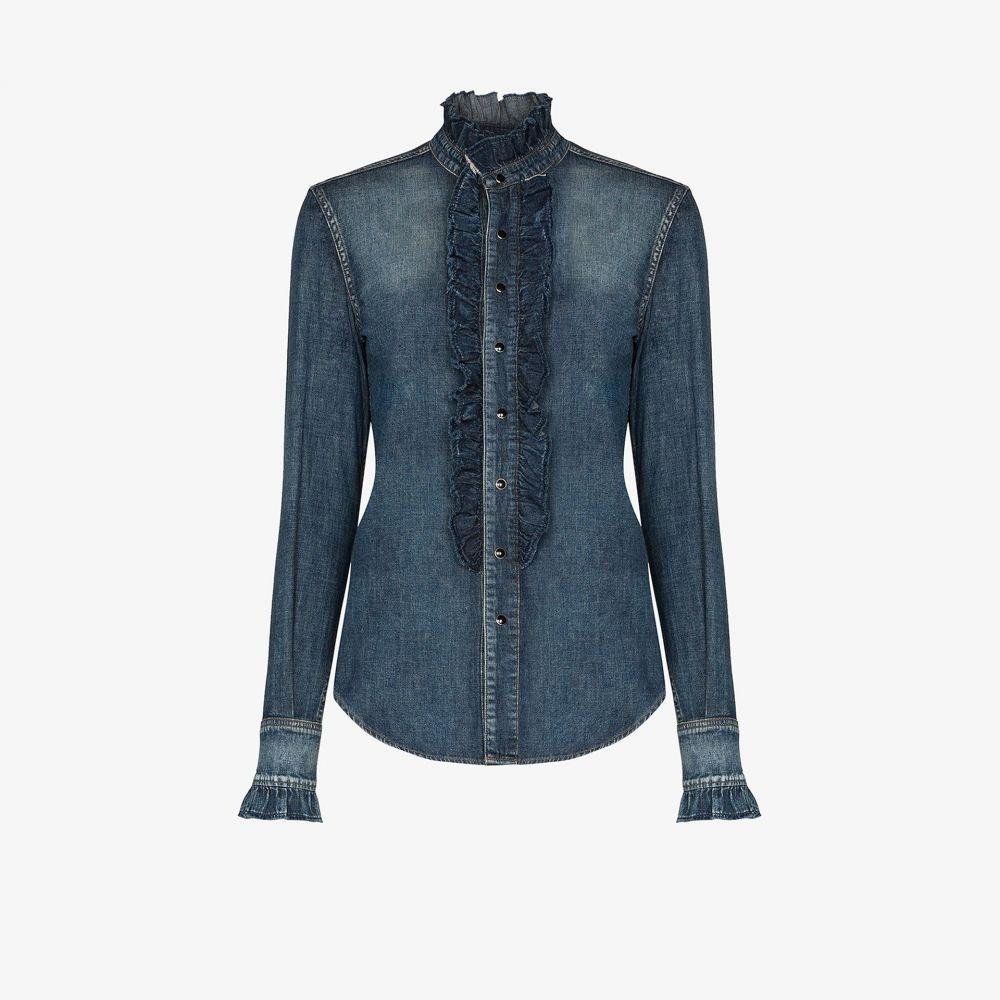 イヴ サンローラン Saint Laurent レディース ブラウス・シャツ デニム トップス【denim ruffle bib shirt】blue