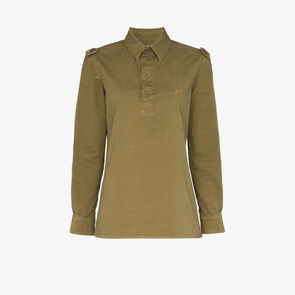 イヴ サンローラン Saint Laurent レディース ブラウス・シャツ トップス【Long sleeve safari shirt】green