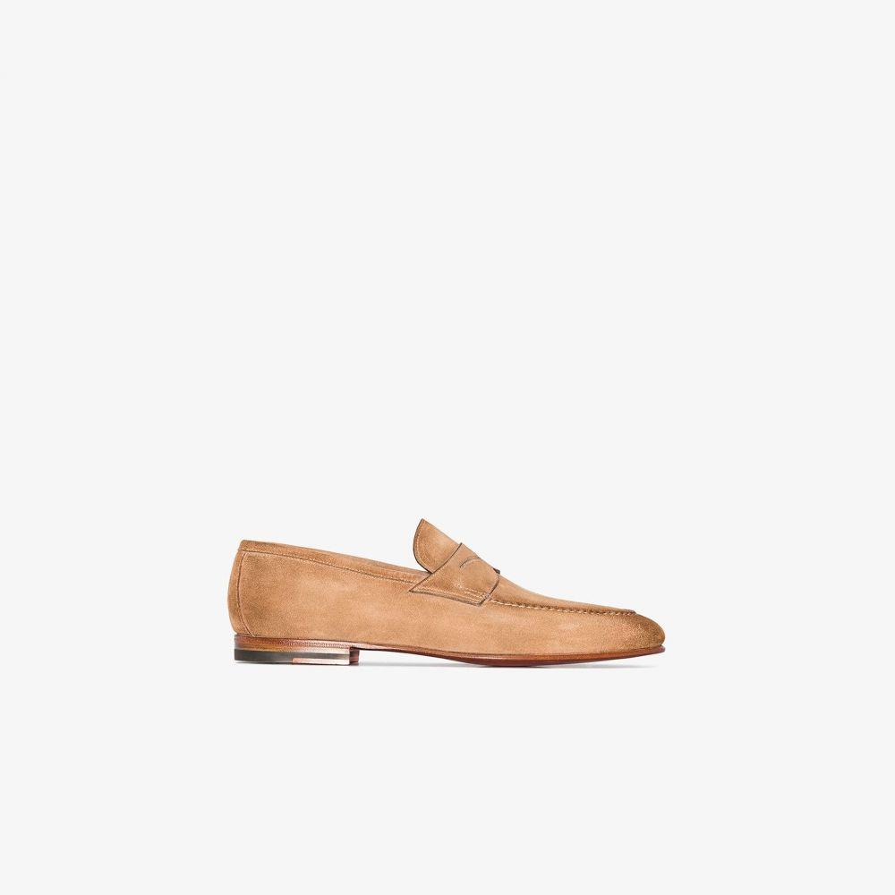 サントーニ Santoni メンズ ローファー シューズ・靴【brown suede loafers】brown