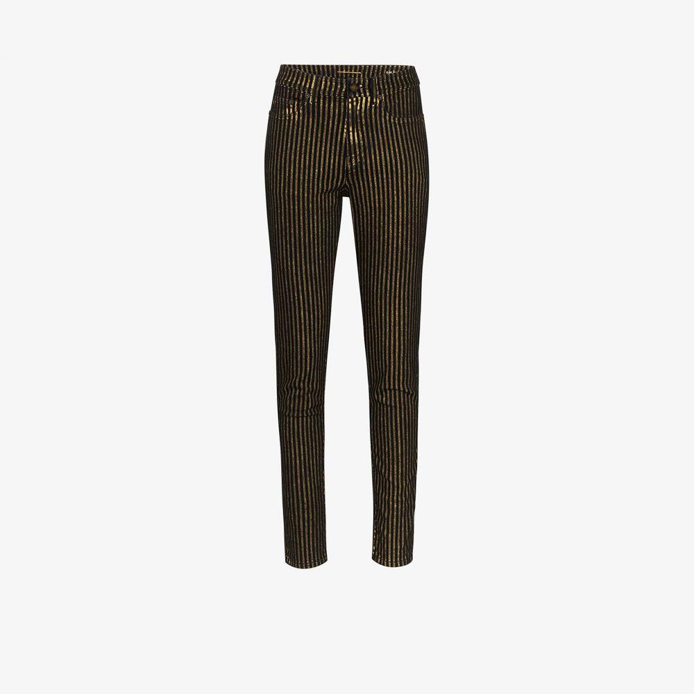 イヴ サンローラン Saint Laurent レディース ジーンズ・デニム ボトムス・パンツ【metallic striped skinny jeans】black
