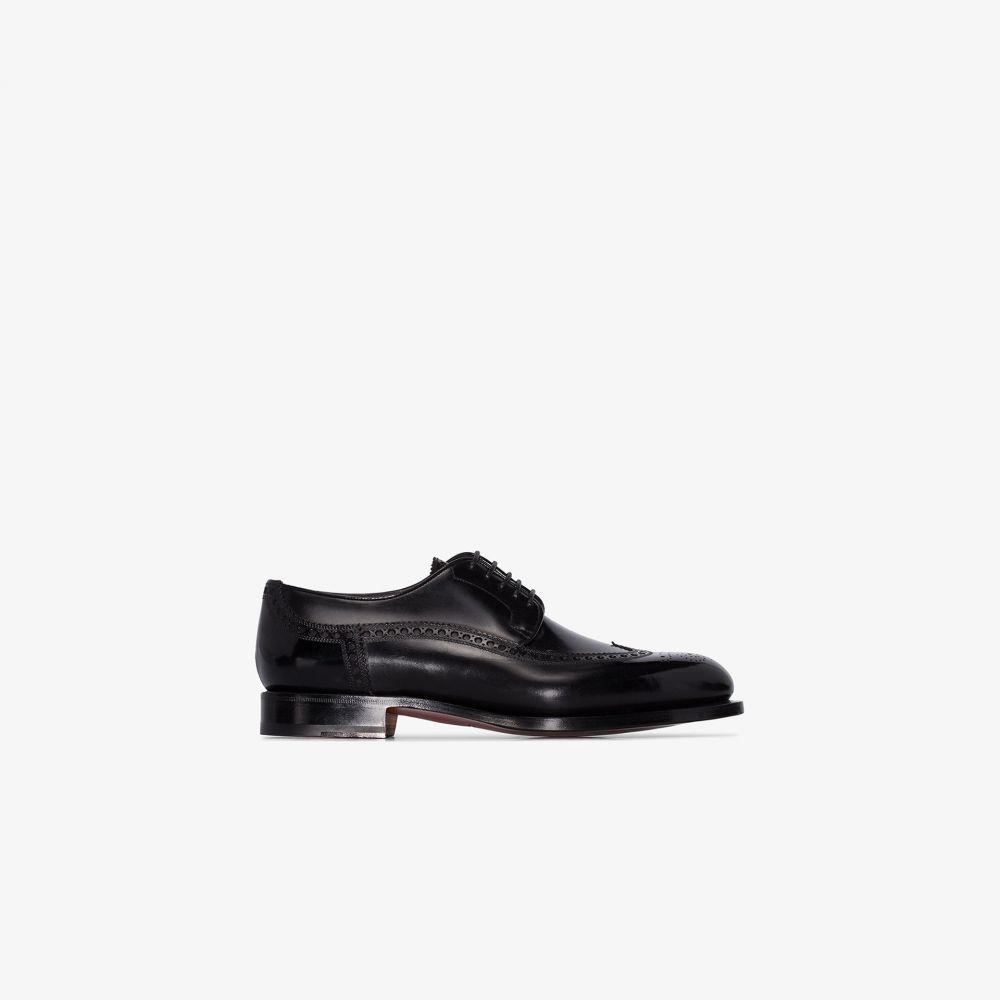 サントーニ Santoni メンズ 革靴・ビジネスシューズ メダリオン シューズ・靴【black classic leather brogues】black