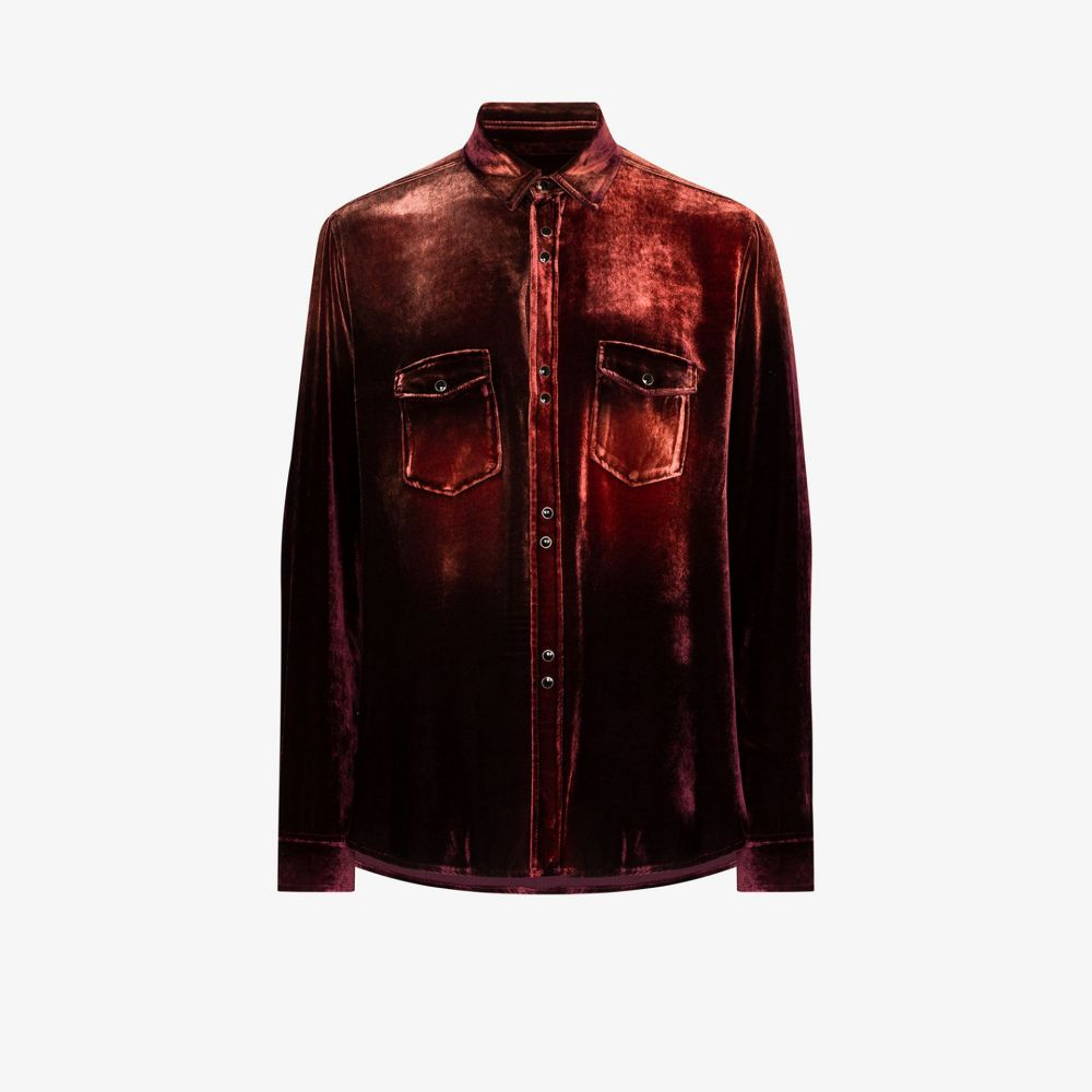 イヴ サンローラン Saint Laurent メンズ シャツ トップス【gradient velvet shirt】brown