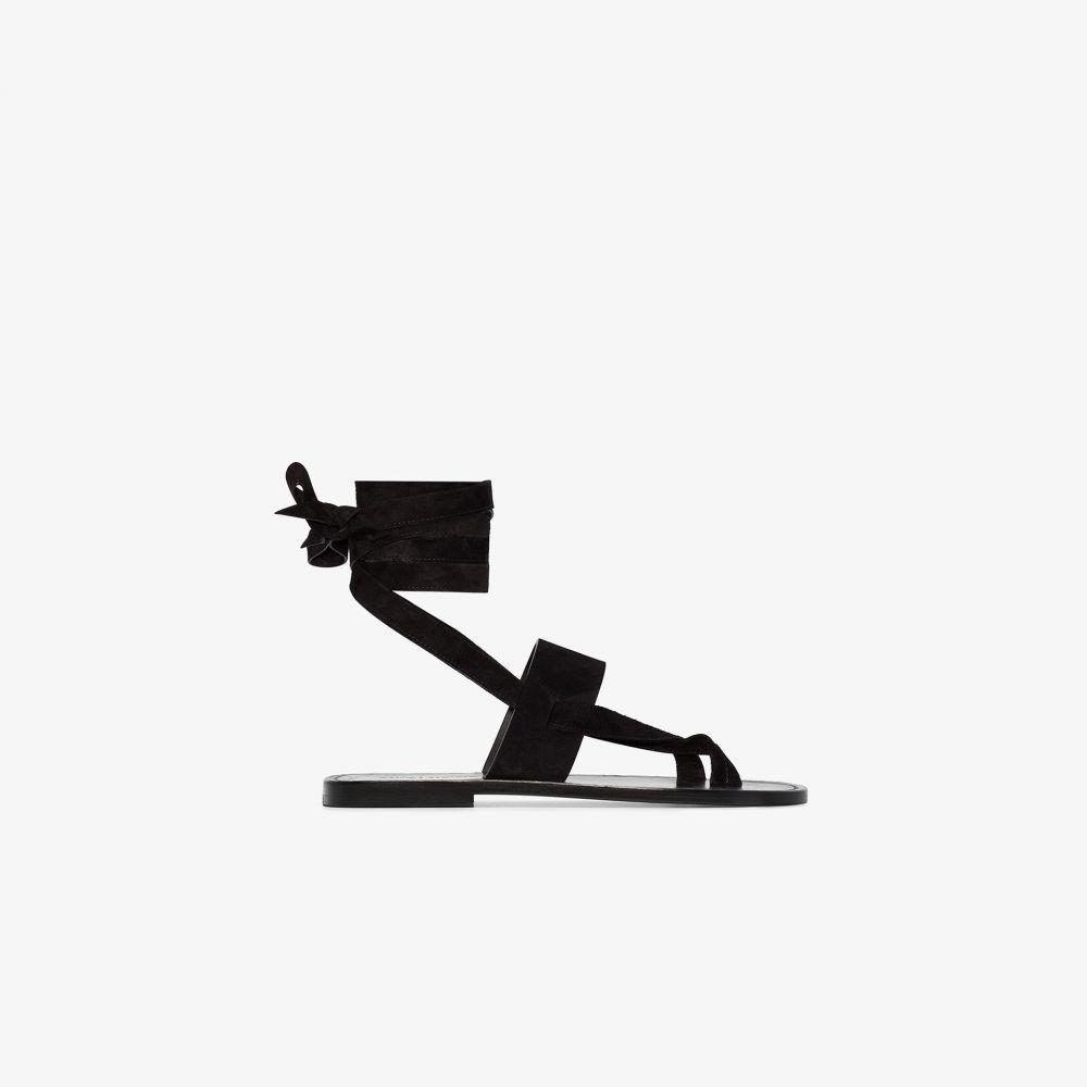 イヴ サンローラン Saint Laurent レディース サンダル・ミュール シューズ・靴【black leather gladiator sandals】