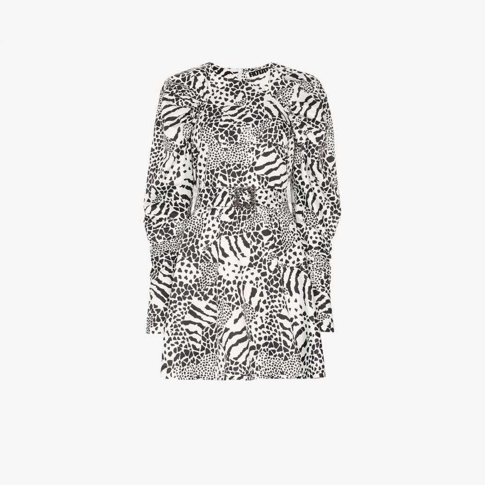 ロテート ROTATE レディース パーティードレス ミニ丈 ワンピース・ドレス【Tara animal print mini dress】black