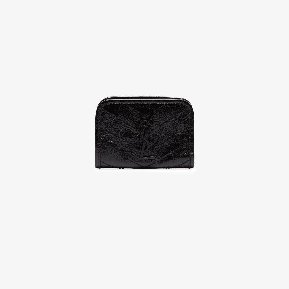 イヴ サンローラン Saint Laurent レディース カードケース・名刺入れ カードホルダー【black Niki crinkled leather card holder】black