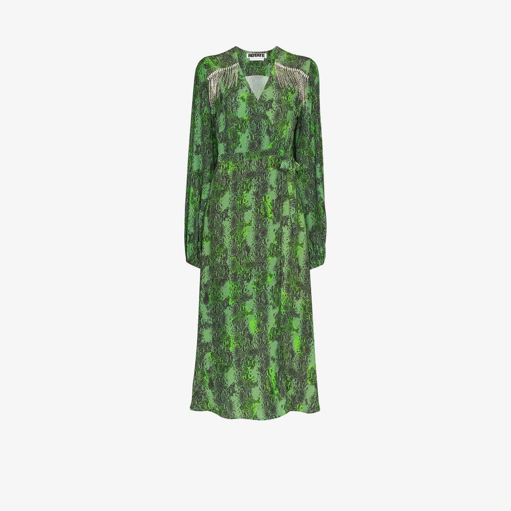 ロテート ROTATE レディース パーティードレス ワンピース・ドレス【Kira embellished snake print dress】green