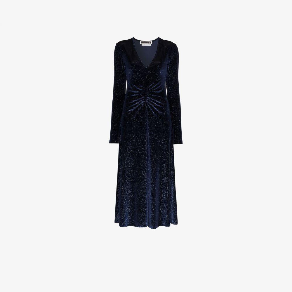 ロテート ROTATE レディース パーティードレス ミドル丈 ワンピース・ドレス【number 7 ruched midi dress】blue
