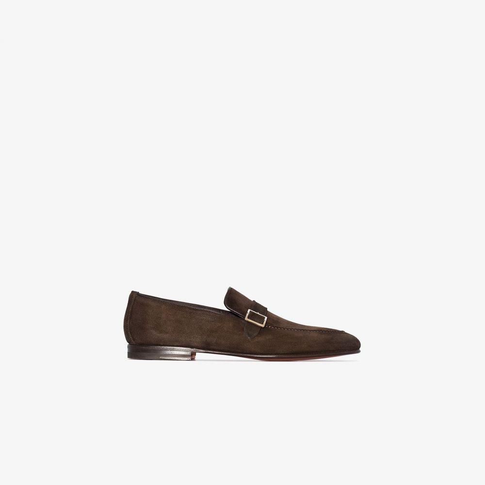 サントーニ Santoni メンズ ローファー シューズ・靴【brown single strap suede loafers】brown