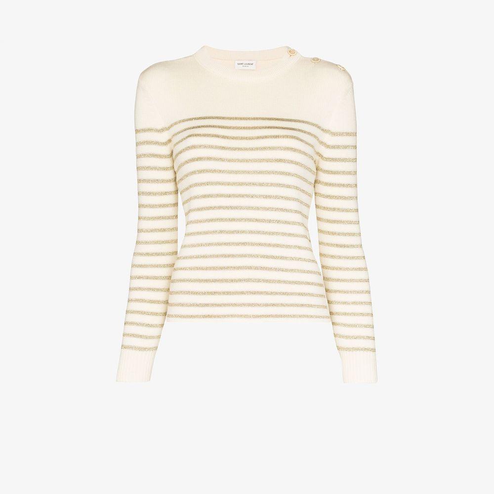 イヴ サンローラン Saint Laurent レディース ニット・セーター トップス【striped knitted sweater】neutrals