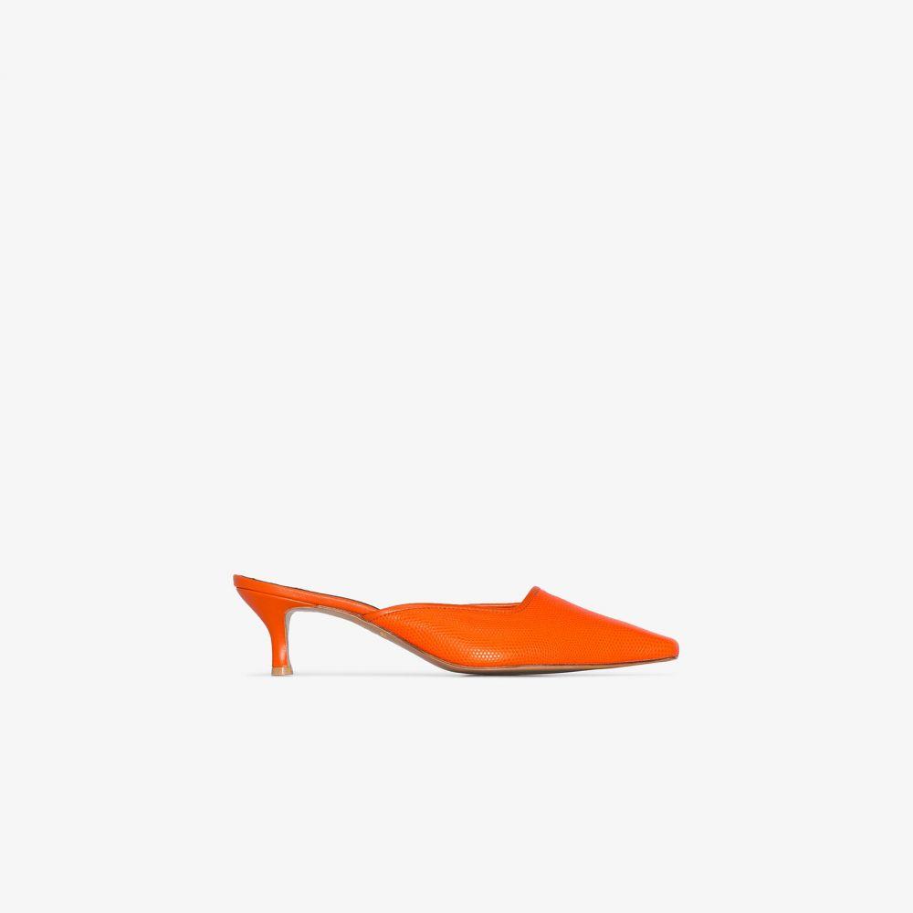 サロンデジュ Salondeju レディース サンダル・ミュール シューズ・靴【orange Lizard 70 leather mules】orange