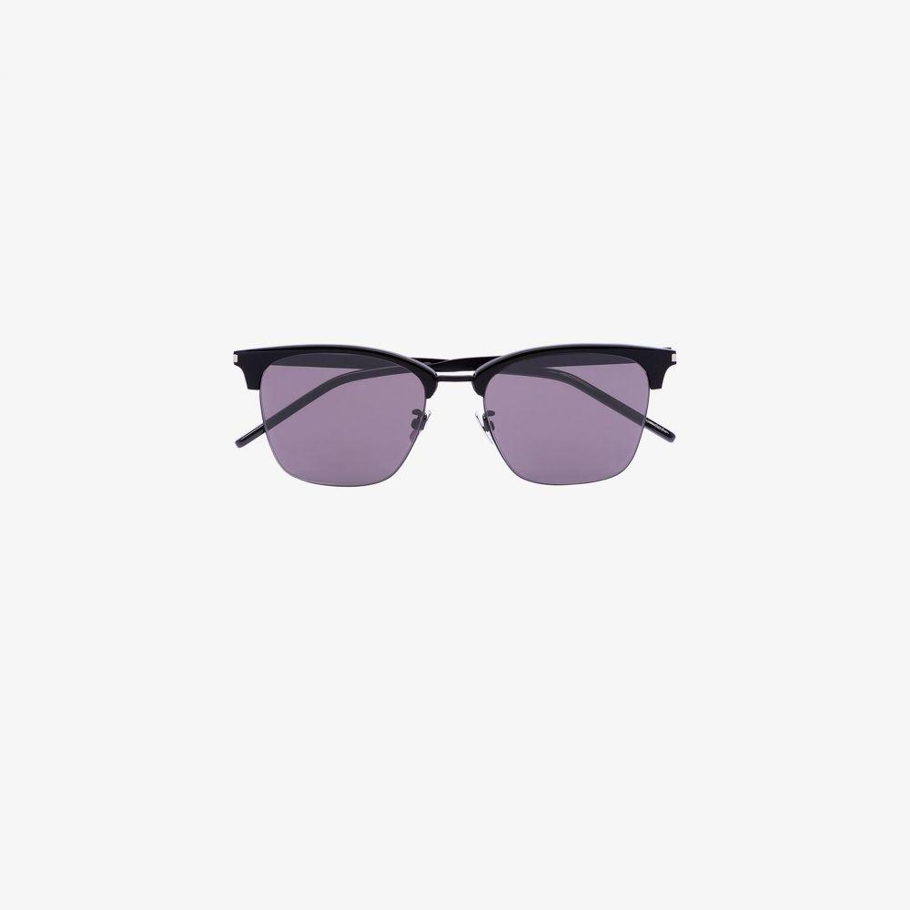 サンローラン Saint Laurent Eyewear メンズ メガネ・サングラス スクエアフレーム【black half rim square sunglasses】black