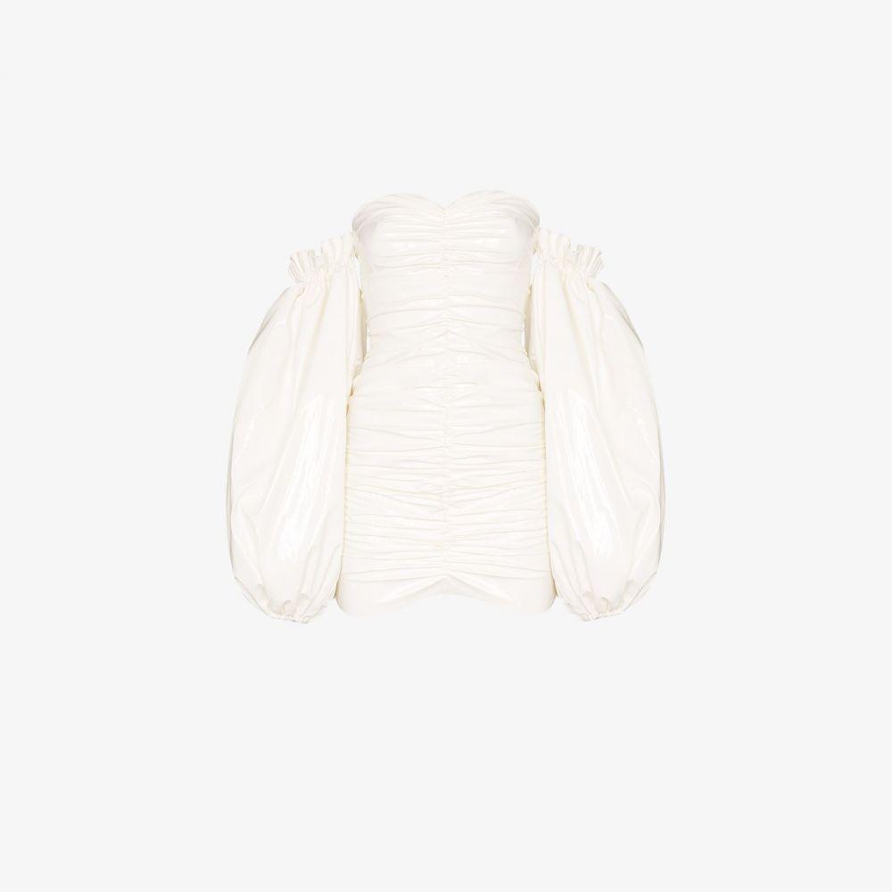 ロテート ROTATE レディース パーティードレス ミニ丈 ワンピース・ドレス【Phoebe off-the-shoulder vinyl mini dress】white