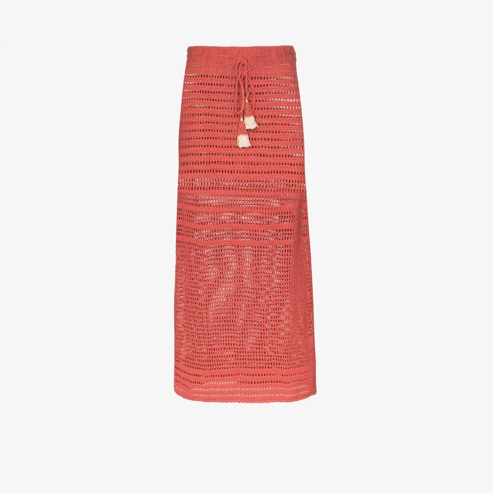 シー メイド ミー She Made Me レディース ビーチウェア ひざ丈スカート 水着・ビーチウェア【Indra crochet midi skirt】pink