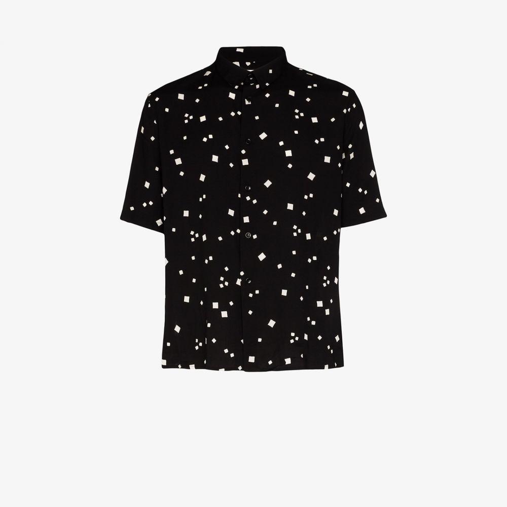 イヴ サンローラン Saint Laurent メンズ 半袖シャツ トップス【square print short sleeve shirt】black