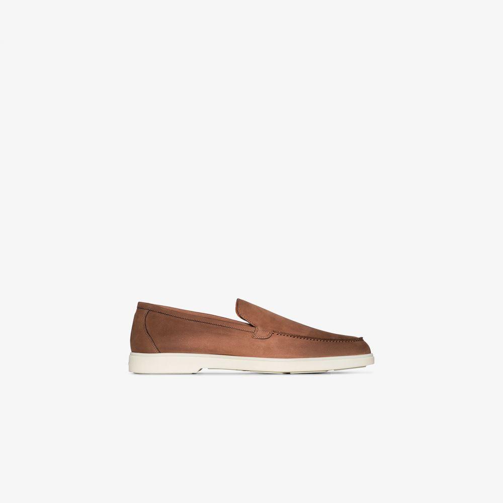 サントーニ Santoni メンズ ローファー シューズ・靴【brown Minimal leather loafers】brown