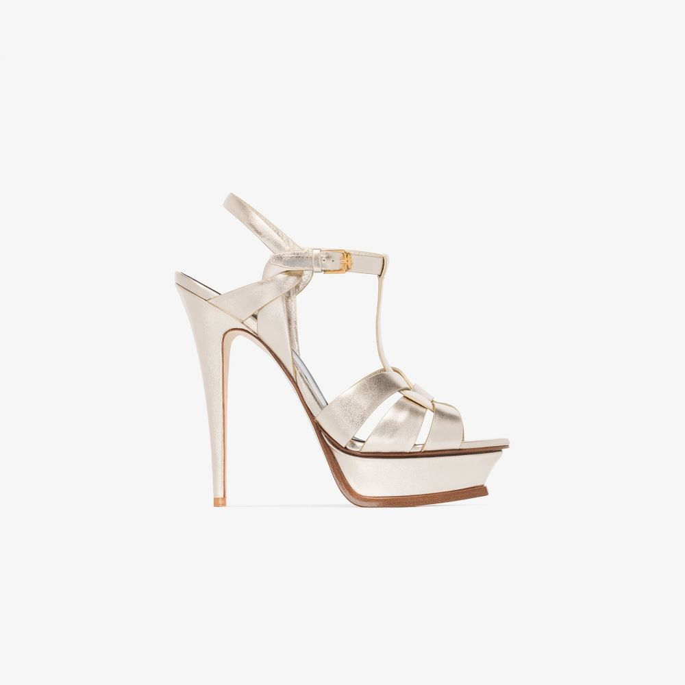 イヴ サンローラン Saint Laurent レディース サンダル・ミュール シューズ・靴【gold tone Tribute 105 metallic leather platform sandals】metallic