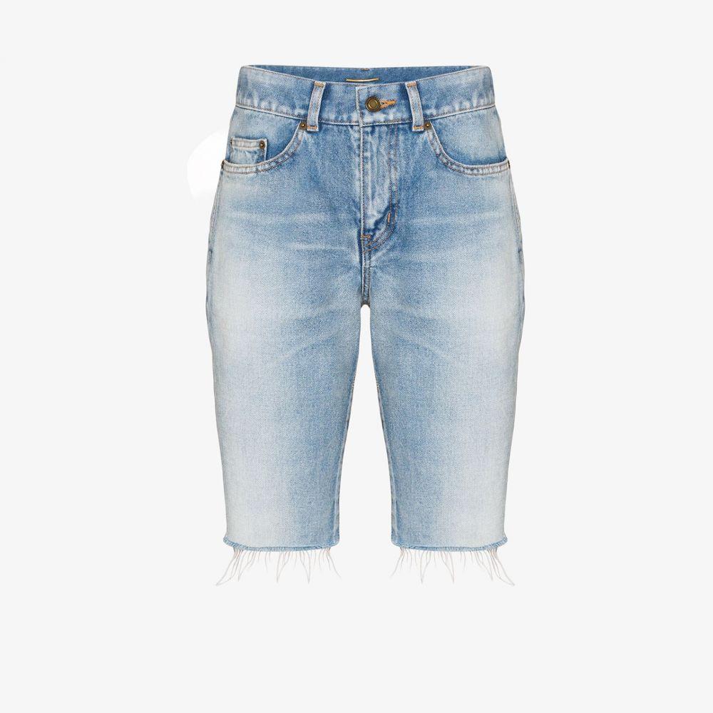 イヴ サンローラン Saint Laurent レディース ショートパンツ デニム ボトムス・パンツ【frayed long denim shorts】blue