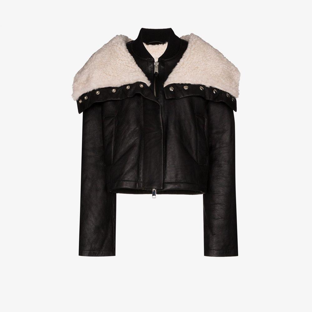 ショーディッチ スキー クラブ SHOREDITCH SKI CLUB レディース レザージャケット シアリング アウター【Laburnum leather and shearling jacket】black