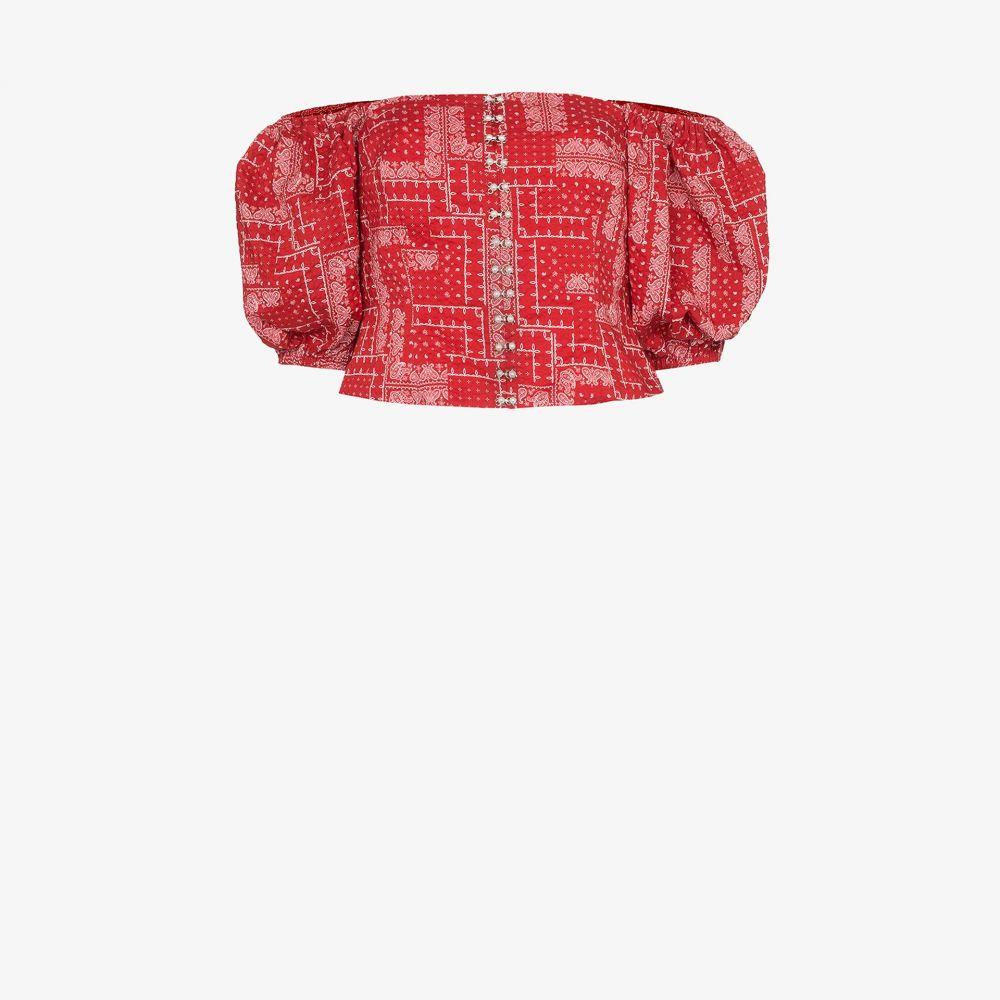シュリンプス Shrimps レディース オフショルダー トップス【Tex off-the-shoulder bandana print top】red