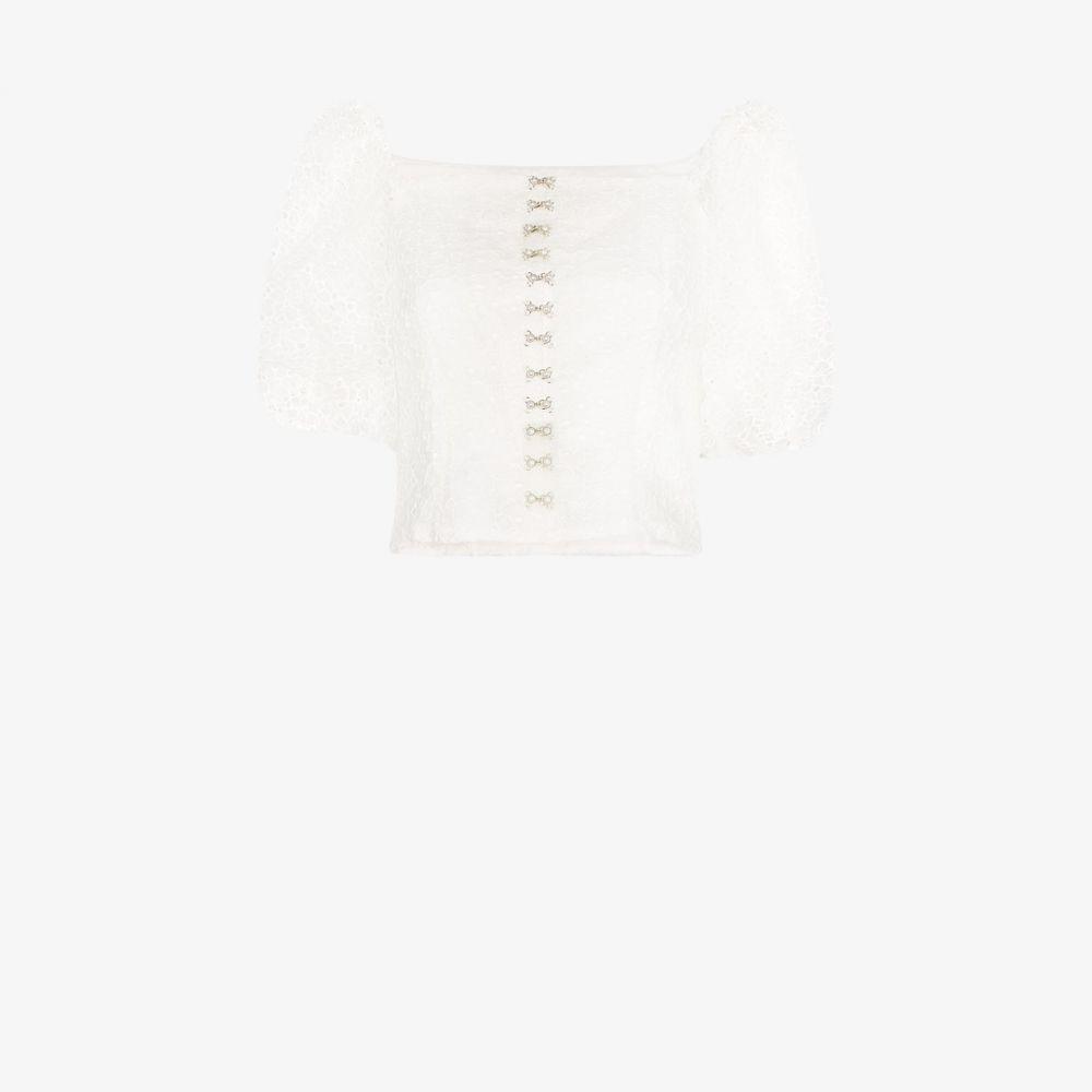 シュリンプス Shrimps レディース ブラウス・シャツ トップス【Tex pouf sleeve organza blouse】white