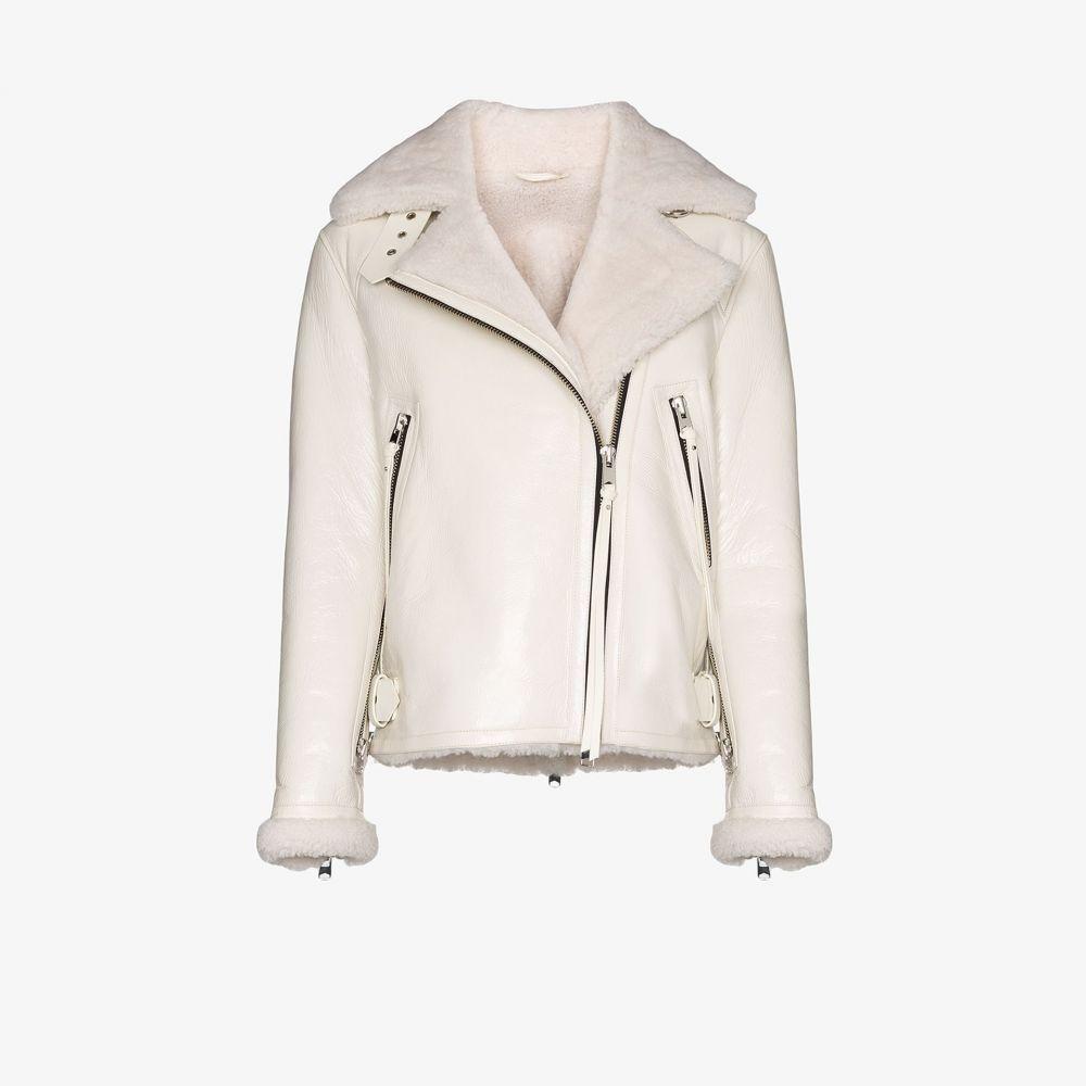 ショーディッチ スキー クラブ SHOREDITCH SKI CLUB レディース レザージャケット アビエイター シアリング アウター【Grace shearling leather aviator jacket】white