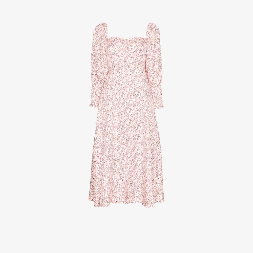 シュリンプス Shrimps レディース ワンピース ワンピース・ドレス【Sawyer cat print blouson sleeve dress】white