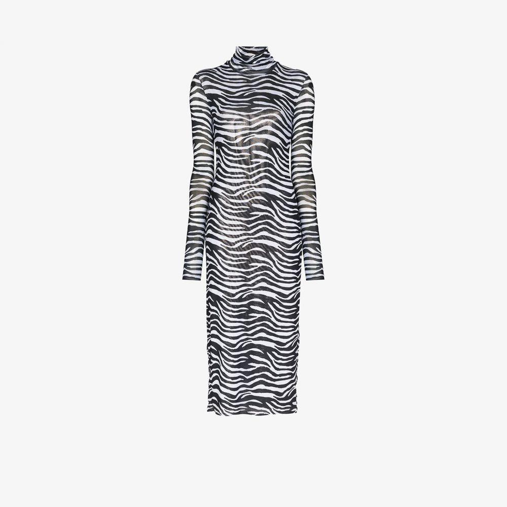 スタウド Staud レディース パーティードレス ワンピース・ドレス【sheer zebra print midi dress】black