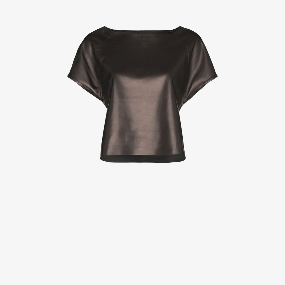 Skiim レディース トップス 【black Wai Boatneck leather top】black