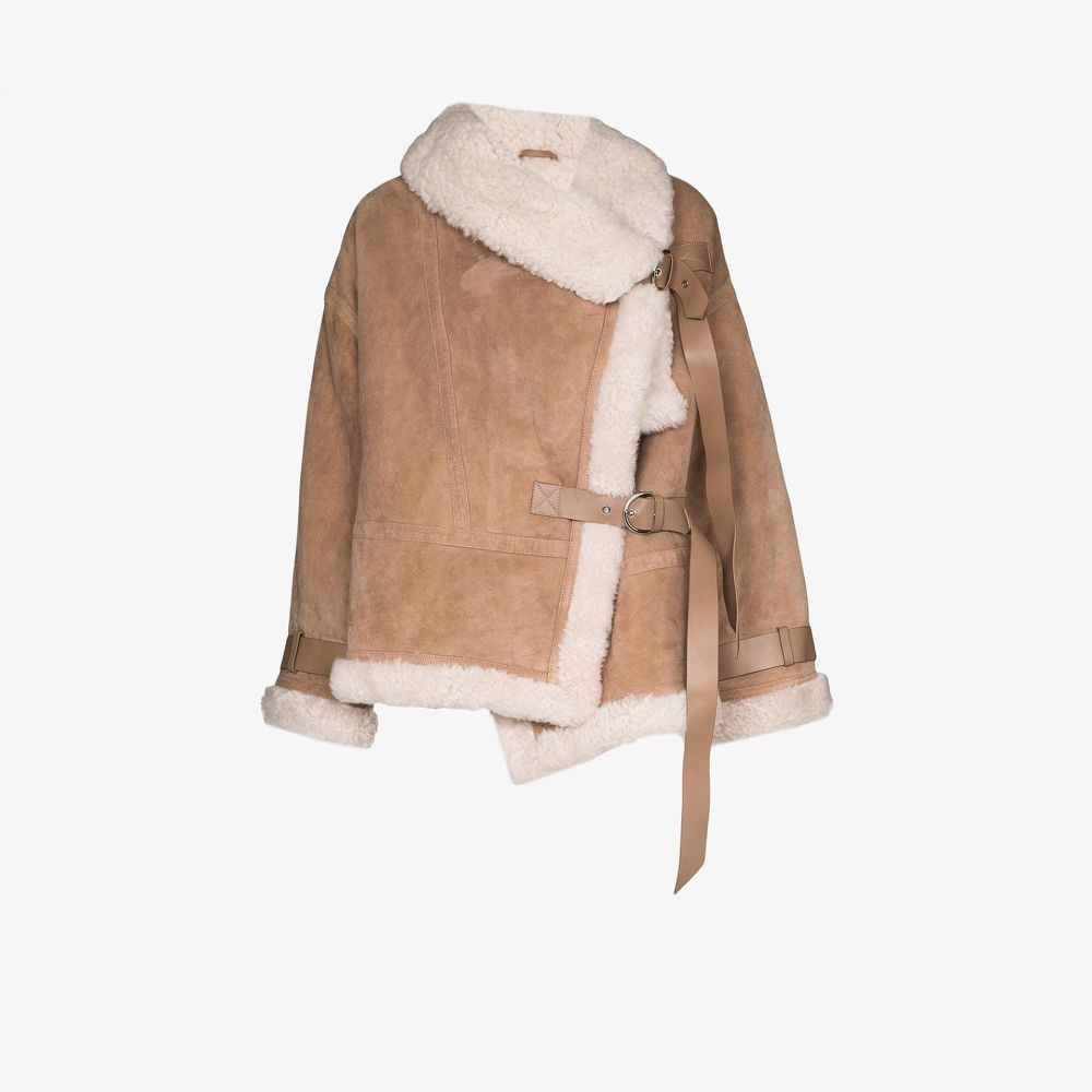 ショーディッチ スキー クラブ SHOREDITCH SKI CLUB レディース レザージャケット シアリング アウター【Darling leather and shearling oversized jacket】neutrals