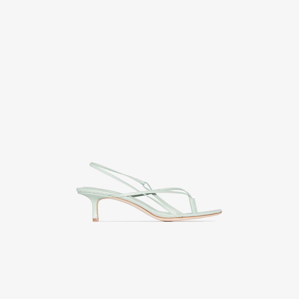 スタジオ アメリア Studio Amelia レディース サンダル・ミュール シューズ・靴【green 2.6 50 leather snake effect sandals】green