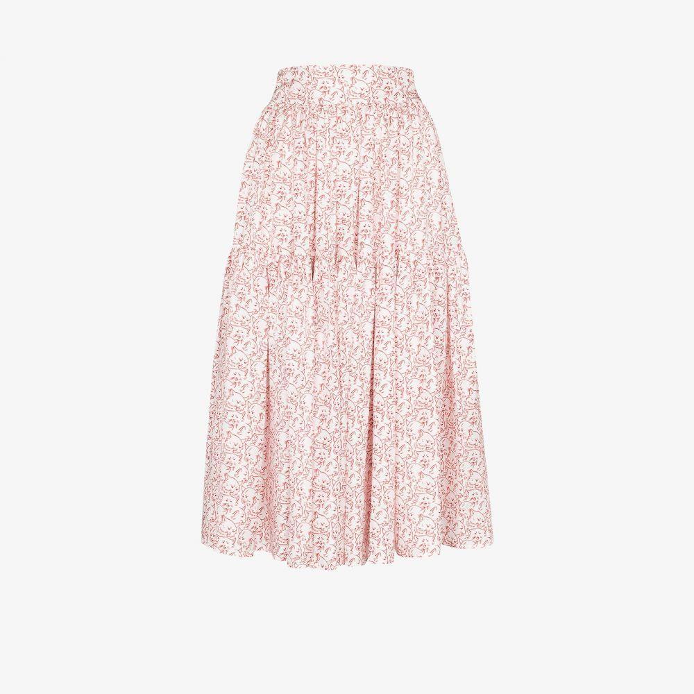 シュリンプス Shrimps レディース スカート ティアードスカート【Ray cat print tiered skirt】white