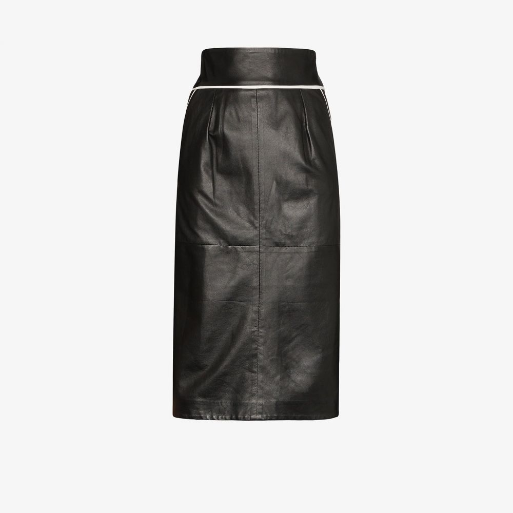 Skiim レディース ひざ丈スカート スカート【Vida contrast piping leather skirt】black