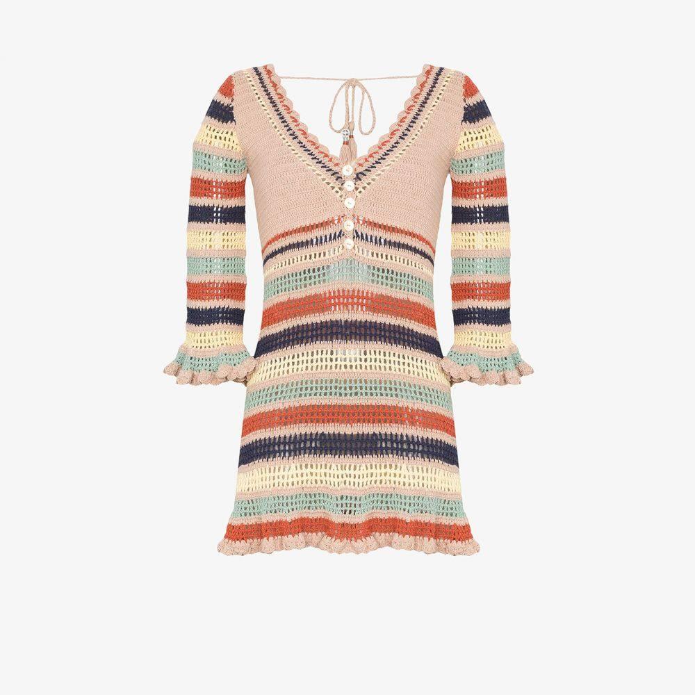 シー メイド ミー She Made Me レディース ビーチウェア ワンピース・ドレス 水着・ビーチウェア【Neha striped crochet dress】brown