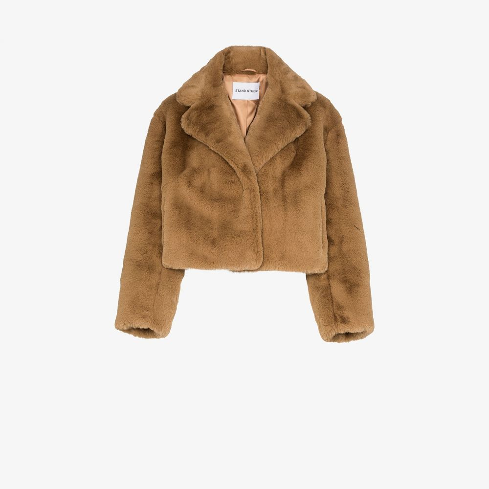 スタンドスタジオ STAND STUDIO レディース ジャケット アウター【janet faux fur cropped jacket】brown