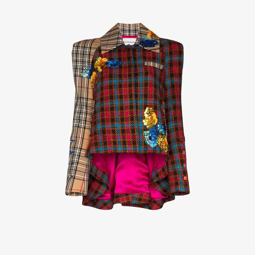 シュティン キュウ Shuting Qiu レディース ジャケット アウター【asymmetric embellished check jacket】red