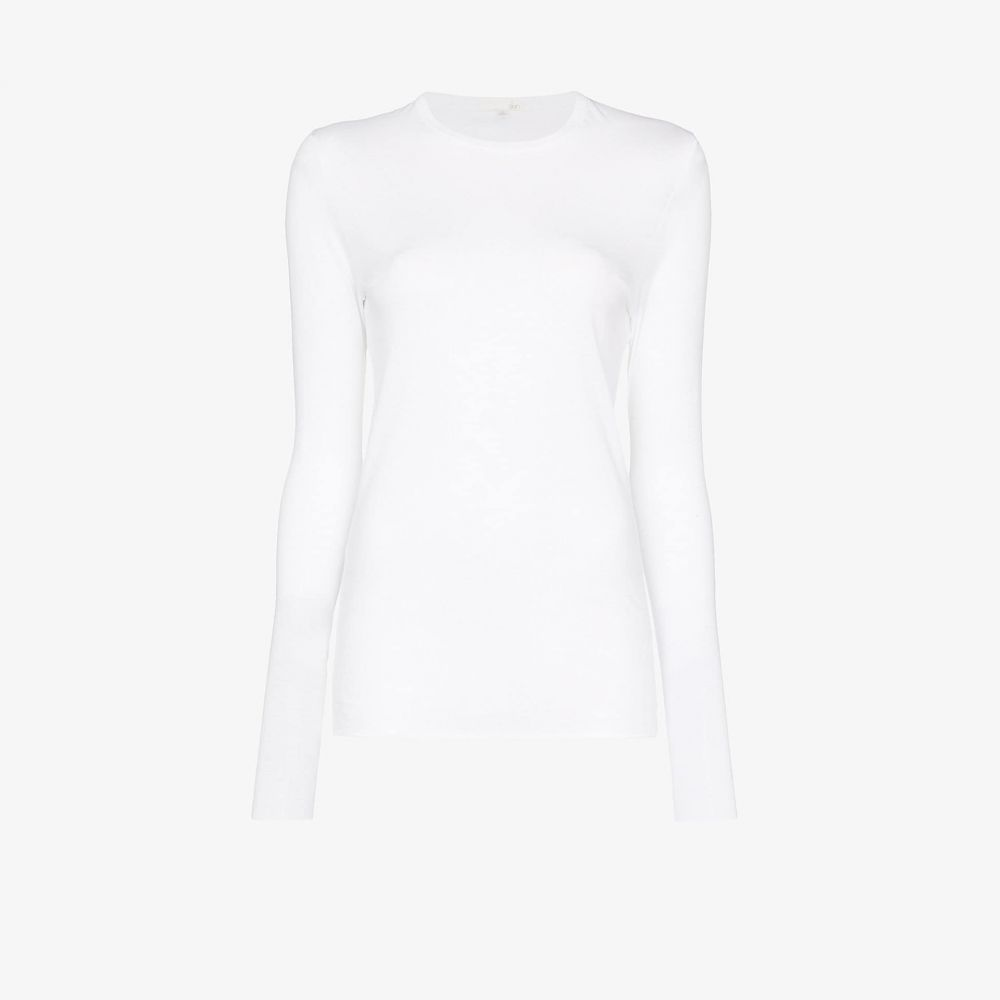 スキン Skin レディース 長袖Tシャツ トップス【Crew neck long sleeve T-shirt】white
