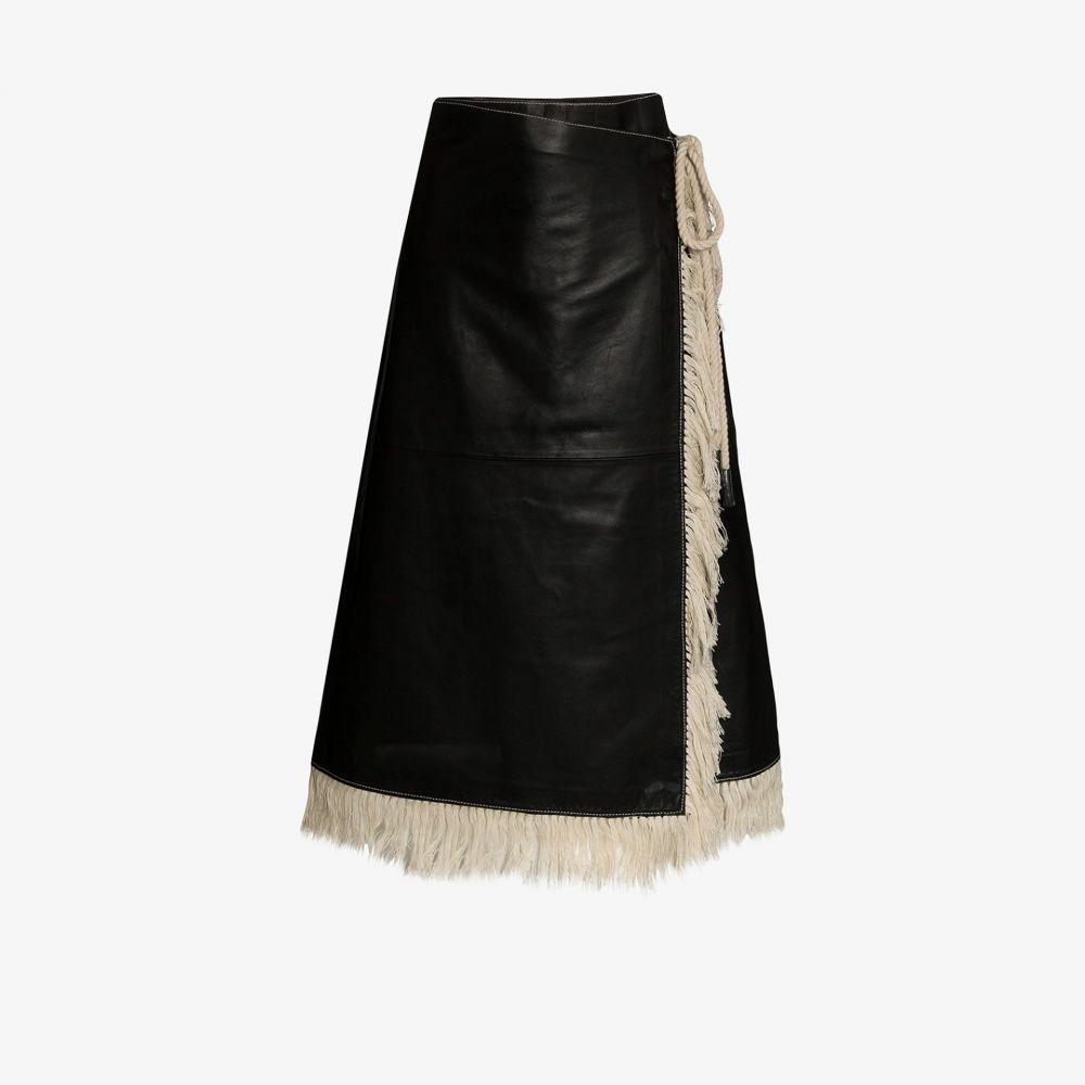 スタンドスタジオ STAND STUDIO レディース スカート ラップスカート【Eve faux leather fringed wrap skirt】black