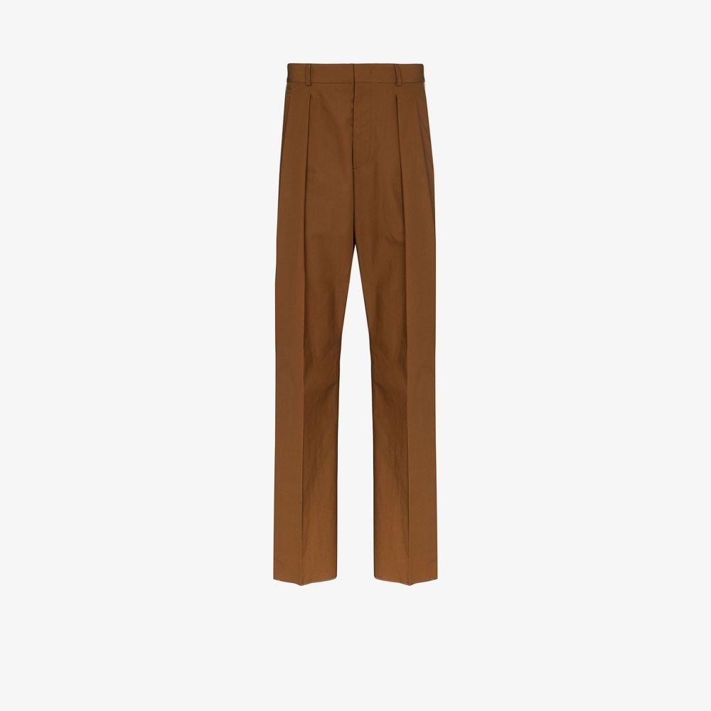 ヴァレンティノ Valentino メンズ ボトムス・パンツ 【pleated stripe trousers】brown