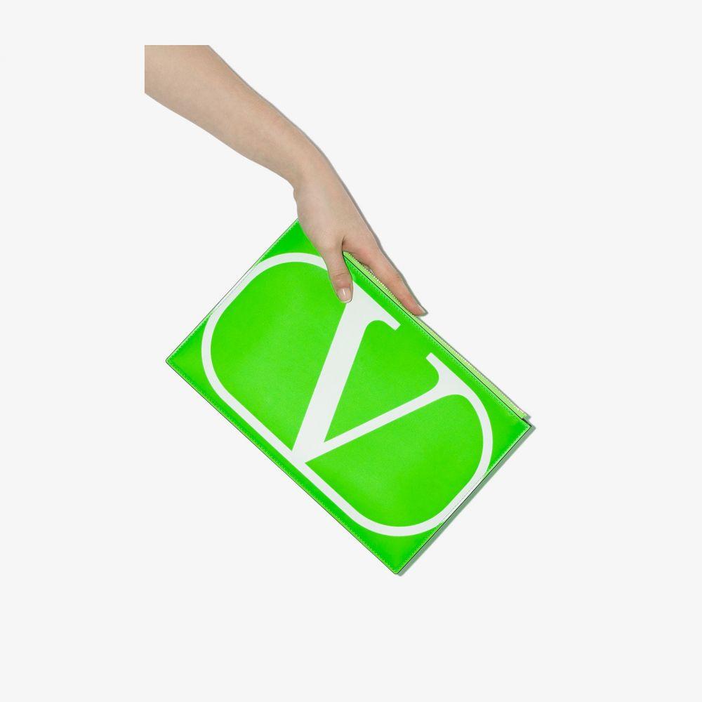 送料無料/新品 ヴァレンティノ レディース バッグ クラッチバッグ サイズ交換無料 Valentino leather green Garavani pouch VLOGO 格安激安