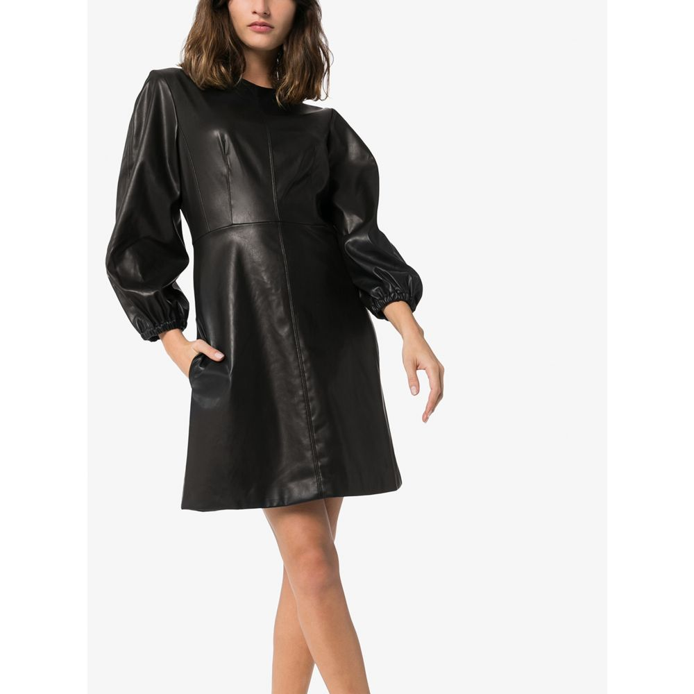 ティビ Tibi レディース ワンピース ワンピース・ドレス puff sleeve faux leather dress black0XOPwnk8