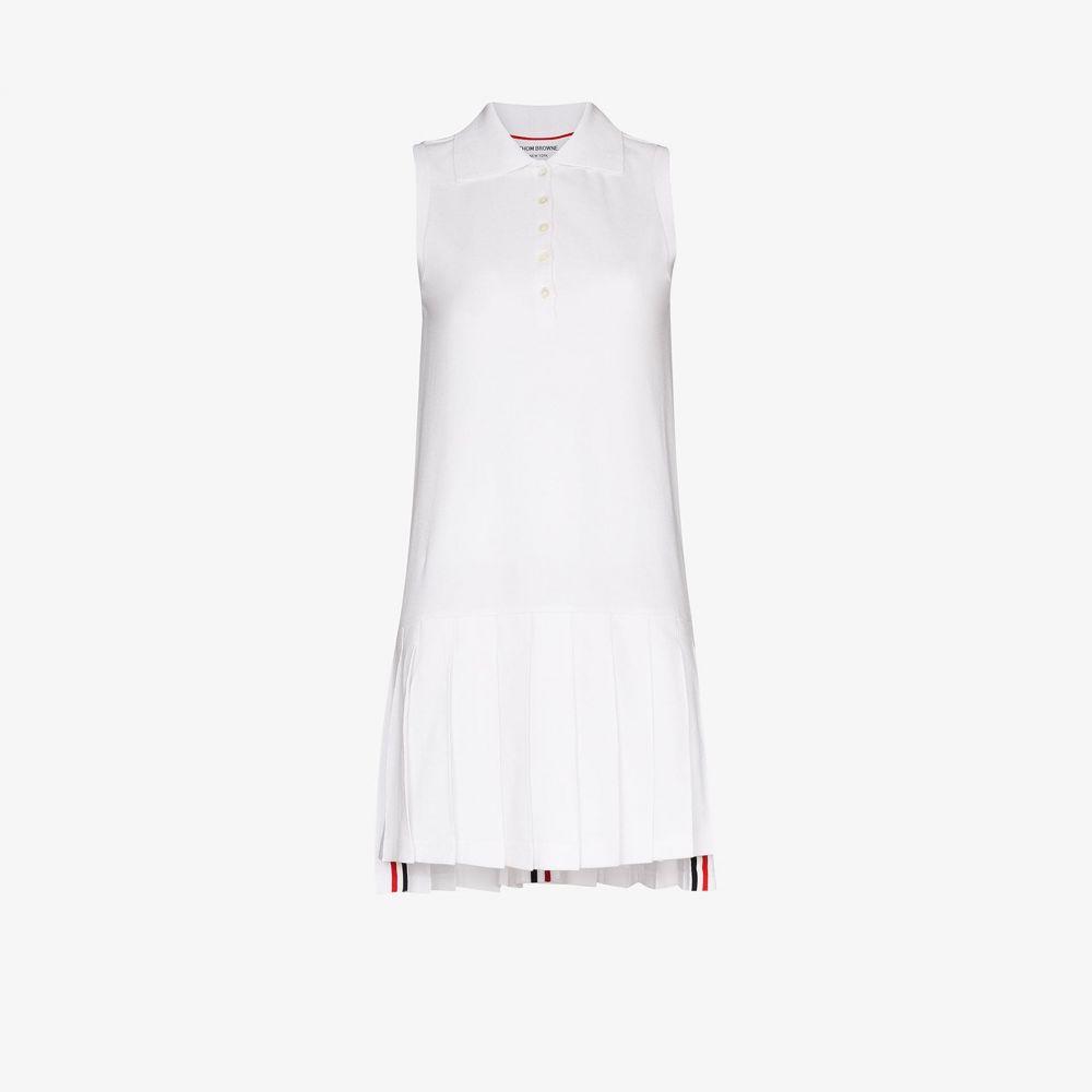 トム ブラウン Thom Browne レディース テニス ワンピース トップス【collared cotton tennis dress】white